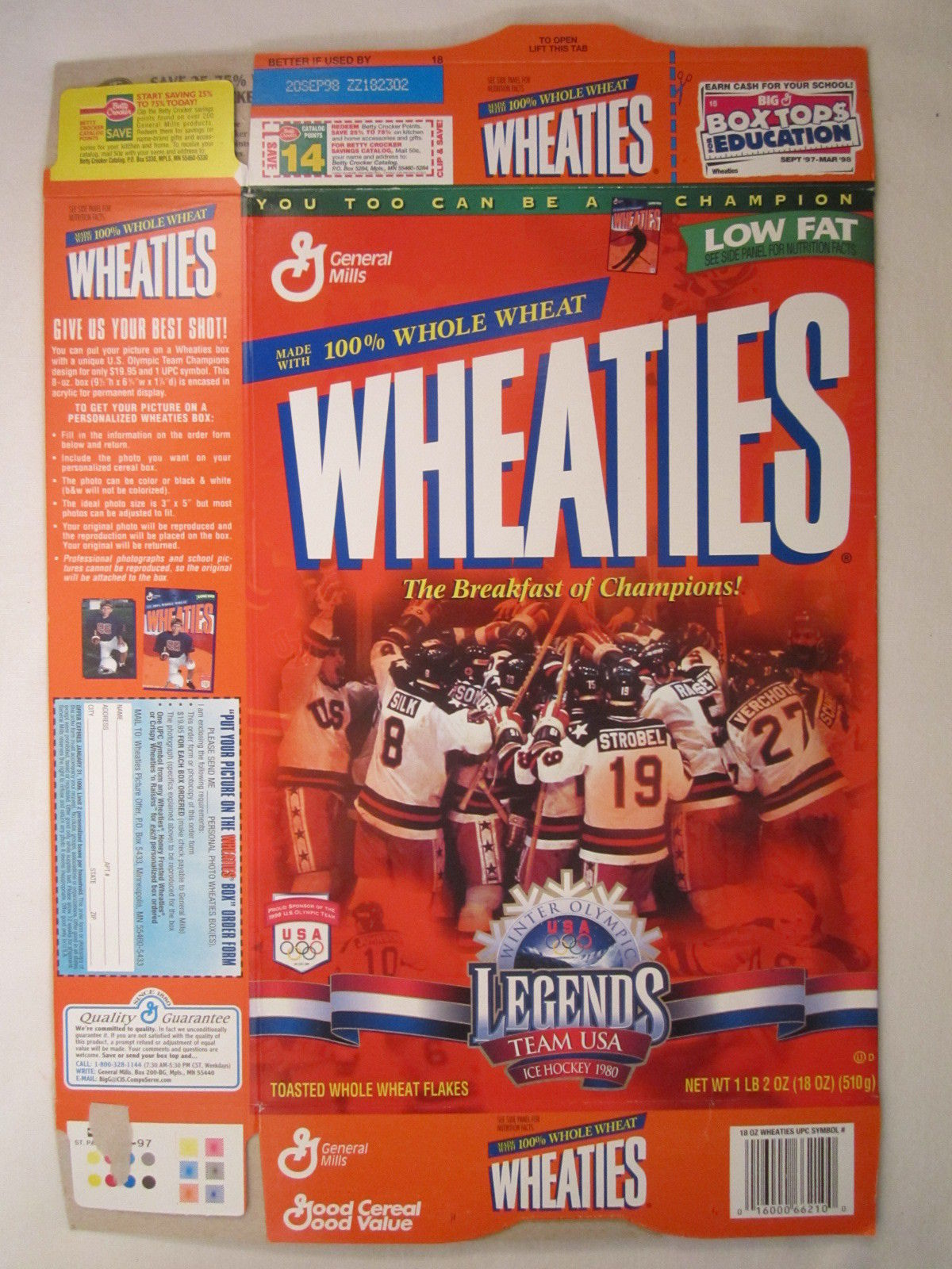 Primary image for MT WHEATIES Cereal Box 1997 18oz TEAM USA WINTER OLYMPIC LEGENDS Hockey [G7E13c]