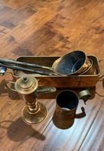 Vtg Brass Copper Planter DELFT Ceramic Handle+kettle +ladles+ measure cups - $97.02