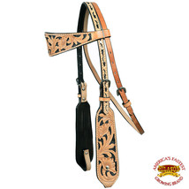 Western Horse Headstall Tack Bridle American Leather Tan Floral Carving U-K-HS - $59.99