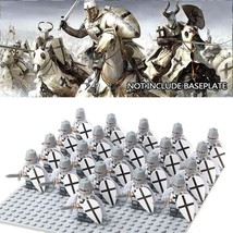 21pcs/set Medieval Crusader (Christ Knight) White Cloak with Shield Mini... - $29.99