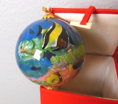 """Fish  Ornament Hand Painted in China in Red Silk Box 3.5"""" Hawaii"""