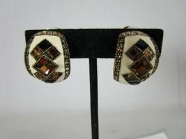 Heidi Daus Deco Master Clasp Crystal Enamel Hoop Clip On Earrings - $44.54