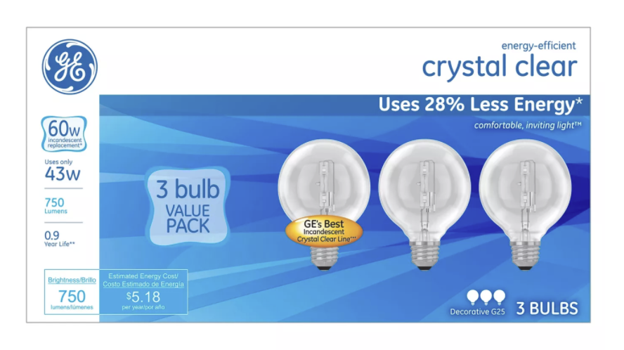 General Electric 60w 3pk G25 Energy Efficient Halo Light Bulb Crystal Clear