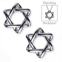 Star of David Earrings Sterling Silver Designer Fashion Judaica Pierced ... - $13.99