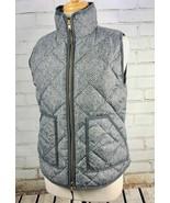J CREW Down Winter Puffer Vest Jacket Women's Small Gray Herringbone NEW - $51.68