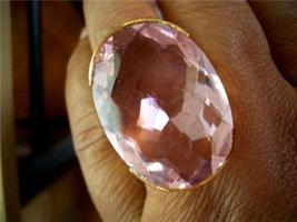EXTRAVAGANT AMAZING STERLING 30X21MM PINK KUNZITE RING - $24.99