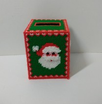 Santa Plastic Canvas Christmas Tissue Box Cover Handmade - $9.74