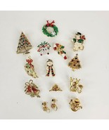 Christmas Jewelry Lot Pins Earrings Trees Wreath Snowman Candy Cane Deer... - $50.00
