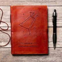 Aries Zodiac Handmade Leather Journal - $38.00