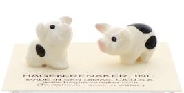 Hagen-Renaker Miniature Ceramic Pig Figurine Spotted Piglets Standing & Sitting