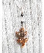 Judy Strobel Carved Picture Jasper Lizard  Sterling Silver Pendant Necklace - $19.95