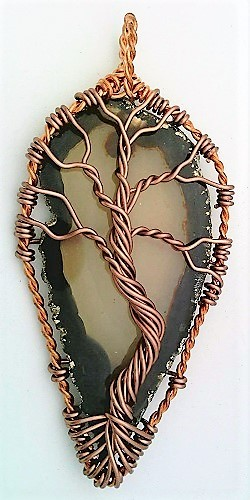 Tree Of Life Agate Copper Wire Wrap Pendant 87