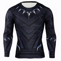 Black Panther Shirt Long Sleeves Elastic Sport Shirt - $41.99