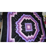 Crocheted afghan, multi-colored purples/black granny/ripple pattern - $75.00