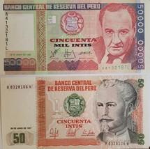 2 Notes from Banco Central De Reserva Del Peru UNC: 50 Intis & 500 Mil I... - $1.95