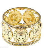 Medusa Bracelet 7 Heads New Iced Out 8 Inch Stretch Bangle Egyptian Style - $39.99