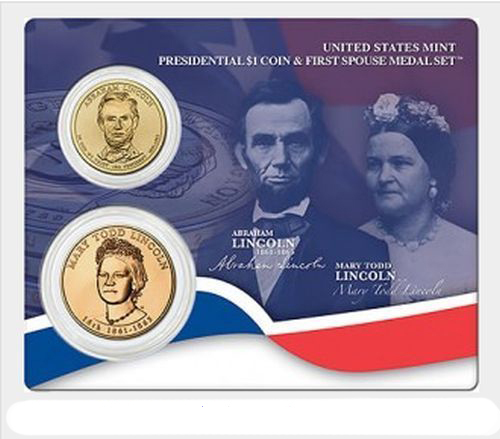 Primary image for 2010 US Mint Abraham Lincoln Presidential $1 Coin & 1st Spouse Medal Set Sealed