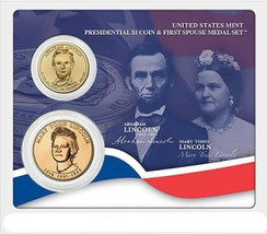 2010 US Mint Abraham Lincoln Presidential $1 Coin & First Spouse Medal Set Seale