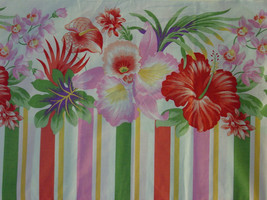 VTG CANNON TWIN FLAT SHEET FLORAL HIBISCUS STRIPED EUC - $14.99