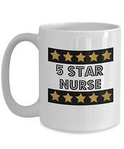 5 Star Nurse - Novelty 15oz White Ceramic Nurse Mug - Perfect Anniversar... - $16.82