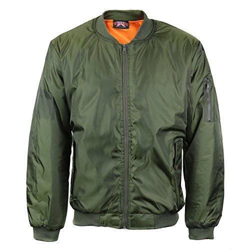 Men's Multi Pocket Water Resistant Padded Zip Up Flight Bomber Jacket (2XL, Gree
