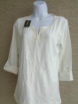 NWT Eddie Bauer 3/4 button tab sleeve cotton slub top /blouse S  Ivory Msrp $40. - $9.49