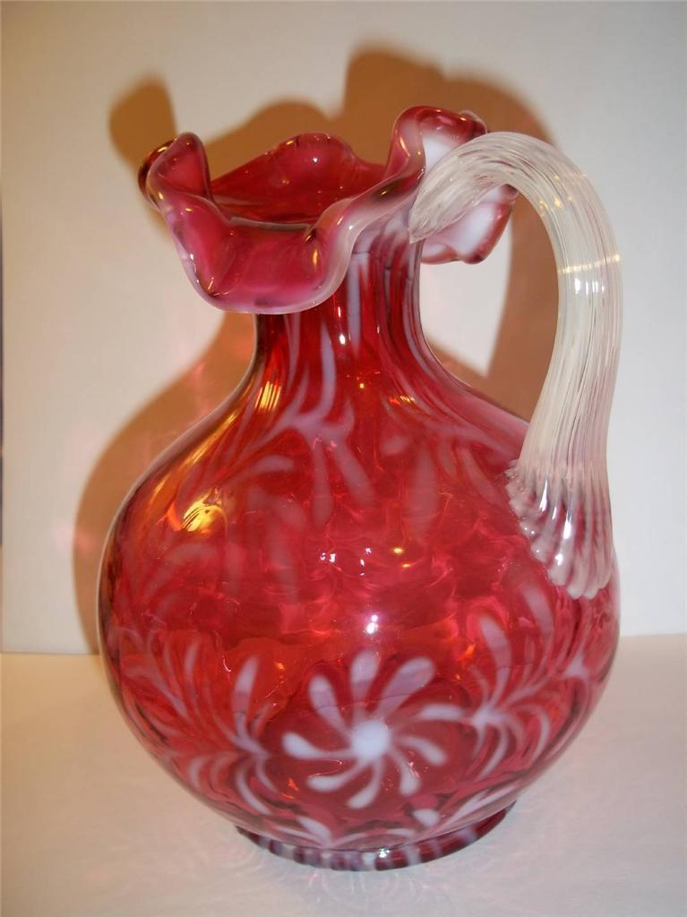 FENTON GLASS CRANBERRY OPALESCENT DAISY & FERN OPTIC PITCHER