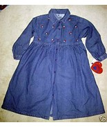 HARTSTRINGS BLUE DENIM LS DRESS RED APPLES NWT ... - $23.06