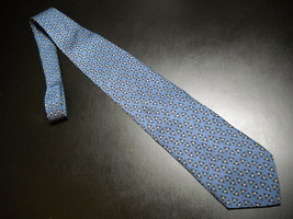 Krizia Uomo Neck Tie Silk Bright Blue Background Dark Blue and Grey Acce... - $13.99