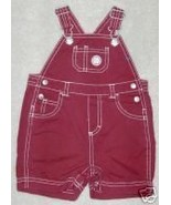 GYMBOREE BOY SHORTALL OVERALLS BASEBALL RED WHI... - $11.78