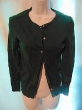 Ann Taylor Loft Women's Green Thin Knit Cotton Cardigan Sweater XS - $13.86