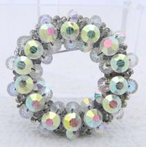 VTG HOBE Silver Tone Clear AB Crystal Rhinestone Round Wreath Pin Brooch - $49.50