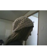 (22)Hand crocheted off white beanie/cap/hat/slouch/tam - $10.00