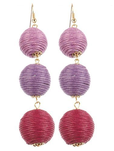 Trendy 3 Ball Cord Wrapped Layered Balls Dangle Earrings (Multi Purple)