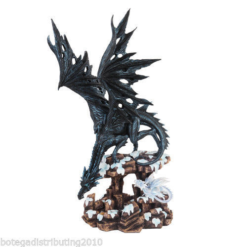 """LARGE 18 1/2"""" BLACK DRAGON STATUE PROTECTING YOUNG FIGURINE for sale  USA"""