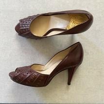 COLE HAAN Melinda Air Pump Sz 6 Leather Heels Maroon Wine Red Peep Toe - $49.99