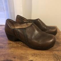 Dansko Sienna Clogs Women Sz 42 11.5-12 Brown Leather Professional Shoes Slip On - $48.51