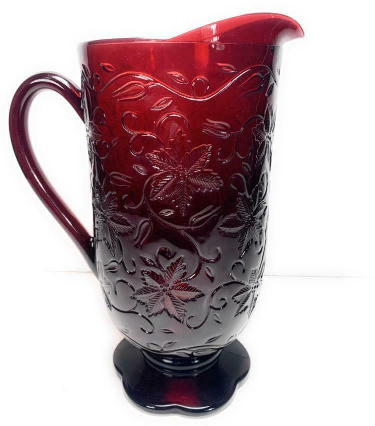 "PRINCESS HOUSE 56 Oz Ruby Red Embossed 10"" Water Pitcher ""Fantasia"" Floral - $32.25"