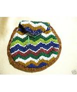 Vintage Native American Seed Bead Belt Pouch Geometric - $47.49