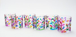 Laurus set 6 tumblers hand-painted  multicolor crystal glass Murano style Venice - $165.00