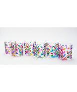 Laurus set 6 tumblers hand-painted  multicolor crystal glass Murano styl... - $165.00