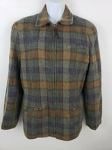 Lauren Ralph Lauren Wool Plaid Flannel Zip-up Jacket Size 12 - $59.39