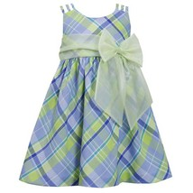 Little Girl Periwinkle-Blue/Green Triple Strap Plaid Linen Dress