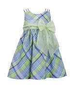 Little Girl Periwinkle-Blue/Green Triple Strap Plaid Linen Dress - $26.95