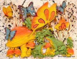 Vintage 70s HOMCO Orange Yellow Butterflies Mushrooms Frog Plaque 19x15 Yard Art - $10.97