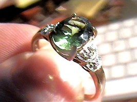 RING SOLITAIRE 7 RUSSIAN APATITE GREEN  BAND NICE sterling SILVER 925 EL... - £55.16 GBP