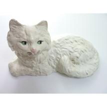 Vintage cast iron door stop cat figurine White Painted Persian Cat - $35.99