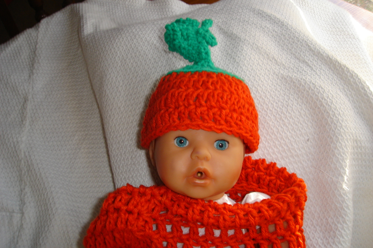 (76)Hand crocheted multi Easter carrot & beanie/cap/hat photography prop