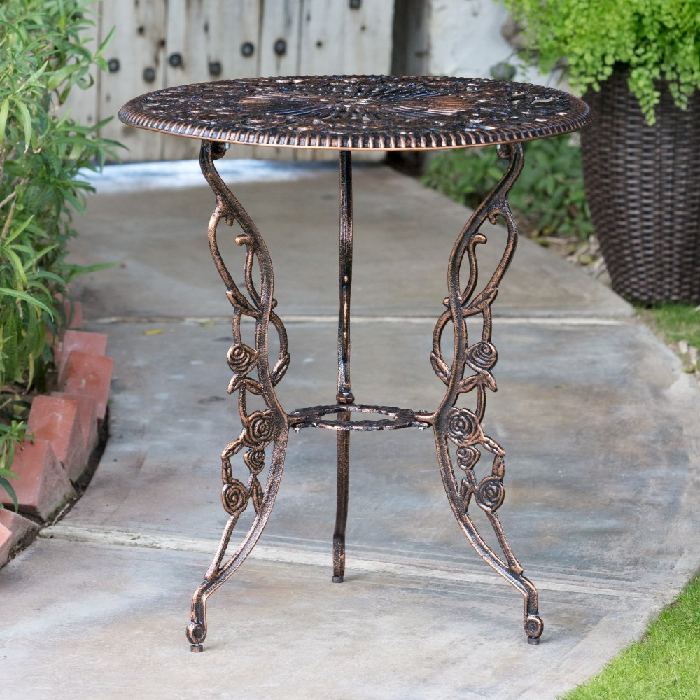 Outdoor Patio Bistro Set Aluminum Garden Yard Backyard Antique Furniture 3 Pc