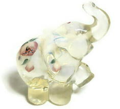 """Fenton White Opalescent Elephant Trunk Up Hand Painted Flower 3.5"""" - $44.95"""